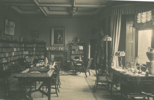 Craig y Nos Castle Nicolini Lounge as it was 100 years ago - as a library