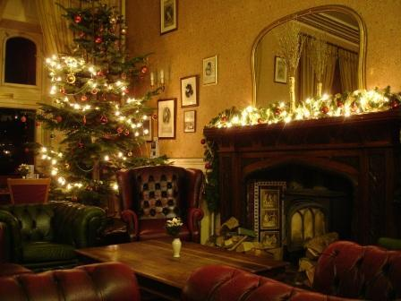 Patti Bar Craig y Nos Castle fireplace at Christmas