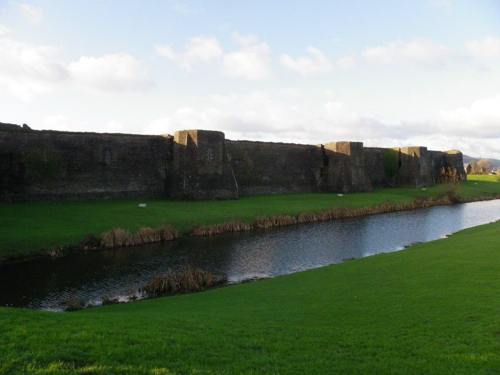 Caerphilly Castle ramparts and moat