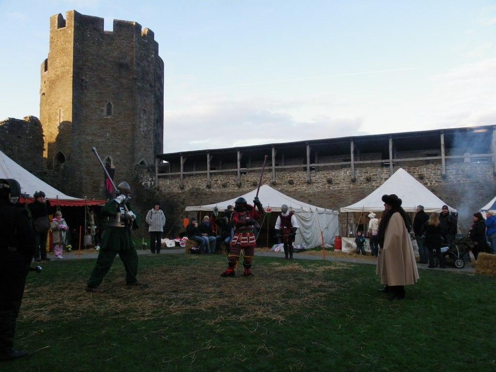 Caerphilly Castle Medieval event within inner courtyard