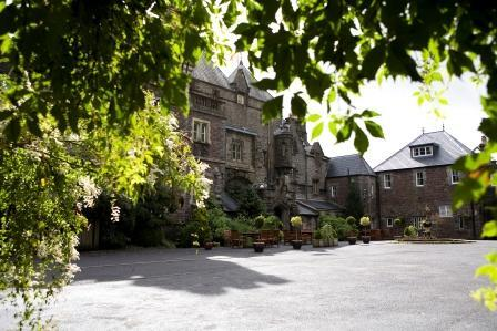 Dog Friendly B&B - Craig y Nos Castle Courtyard in Wales before we got more garden furniture