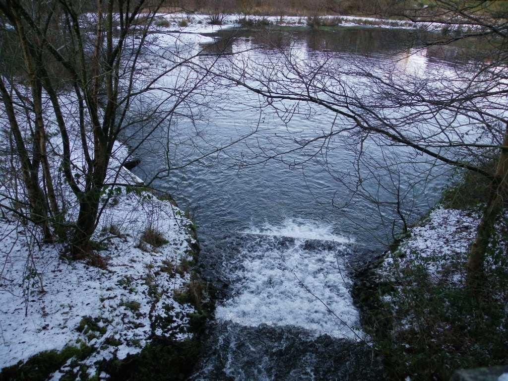 Dare Valley Country Park in Winter lake sluice gate