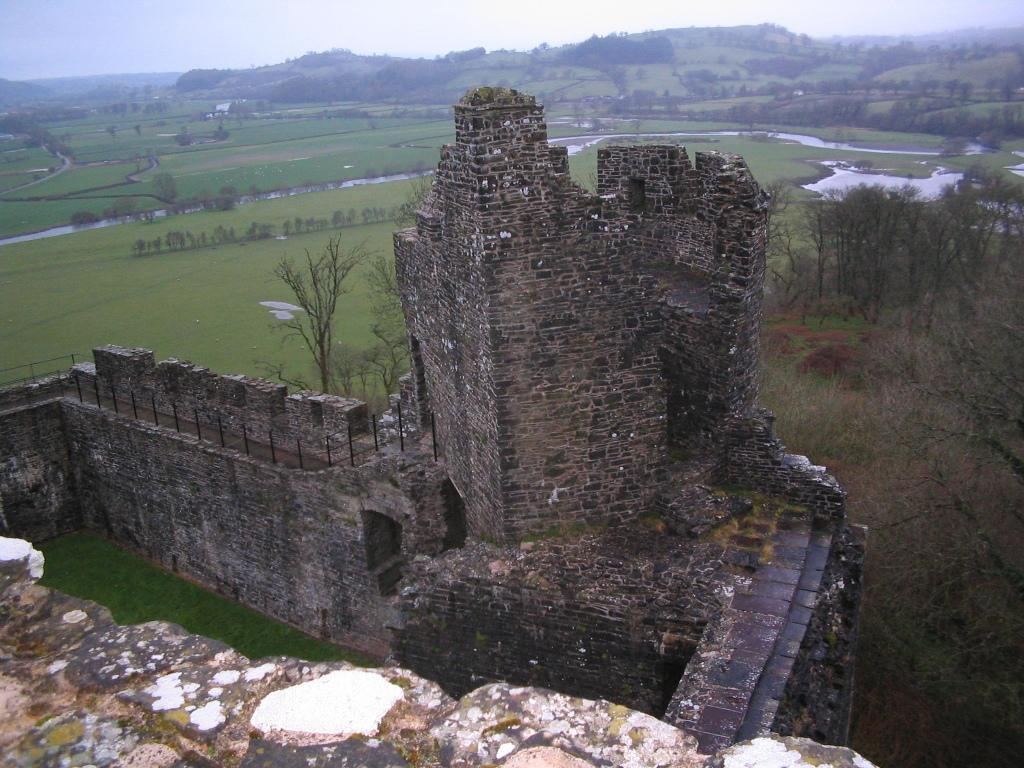 Dinefwr Castle ruins with views over the valley