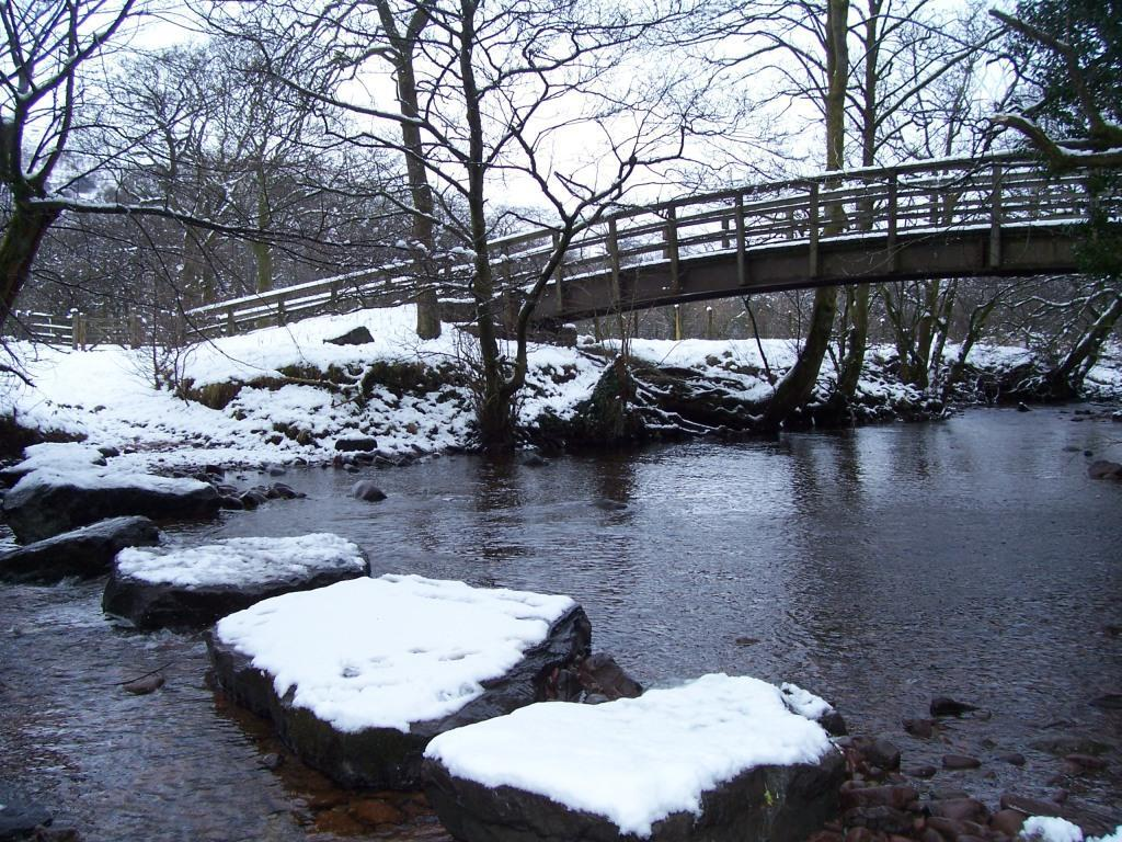 Dog Friendly Hotel Swansea Wales Craig y Nos Country Park Snow covered stepping stones over River Tawe