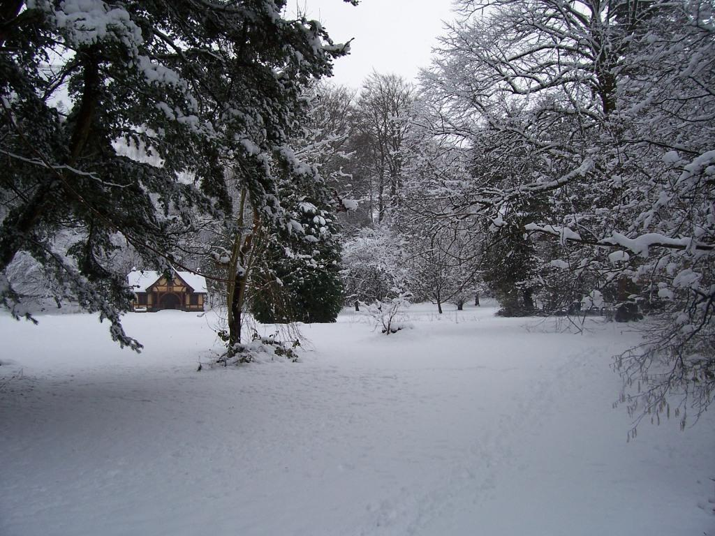 Dog Friendly Hotel Swansea Wales Pavilion field at Craig y Nos Country Park in Winter Snow
