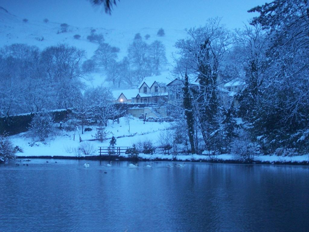 Dog Friendly Hotel Swansea Wales boating lake at Craig y Nos Country Park in Winter Snow
