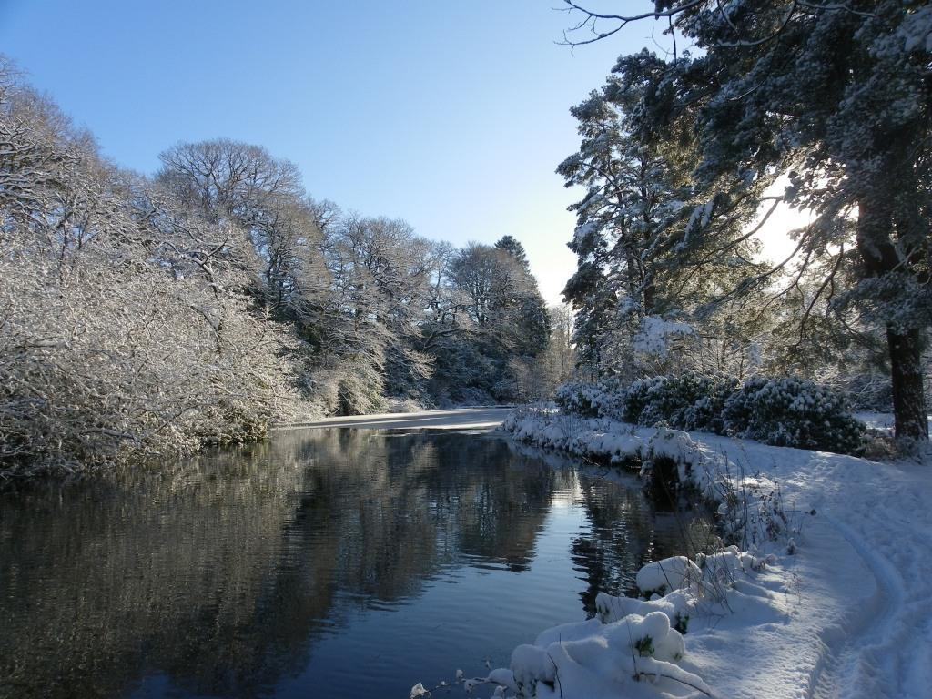 Dog Friendly Hotel Swansea Wales Craig y Nos Country Park lakeside path in Winter Snow