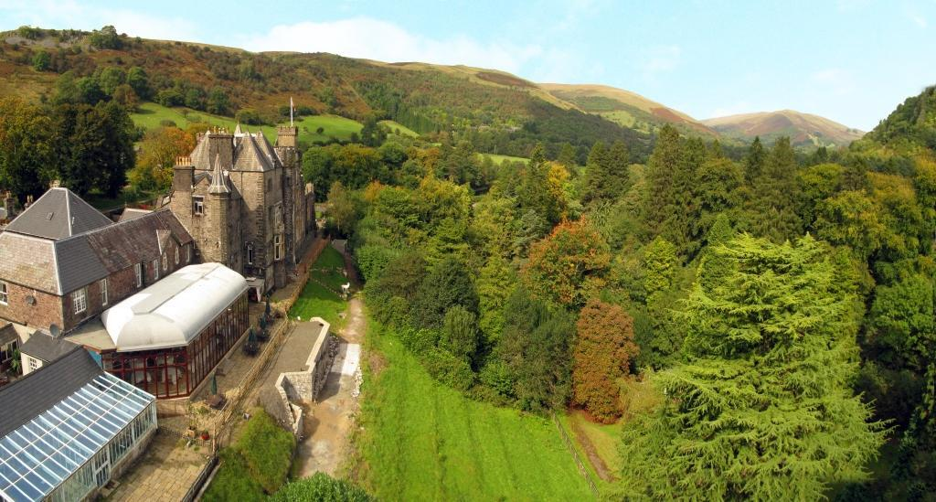Dog Friendly Hotel Wales, aerial photo of back of Craig y Nos Castle