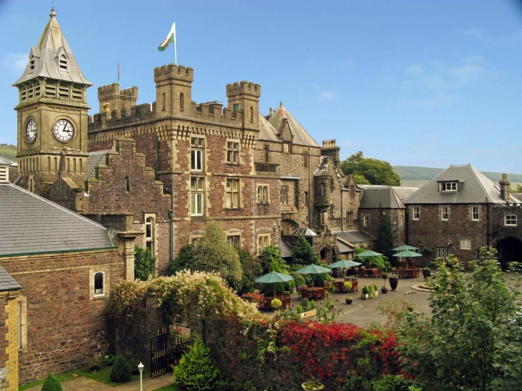 Dog Friendly Hotel Wales, Craig y Nos Castle Aerial Photo of front courtyard