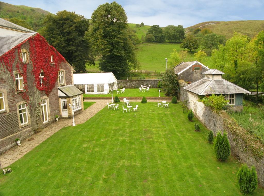 Dog Friendly Hotel Wales, Craig y Nos Castle Aerial Photo of back  of theatre