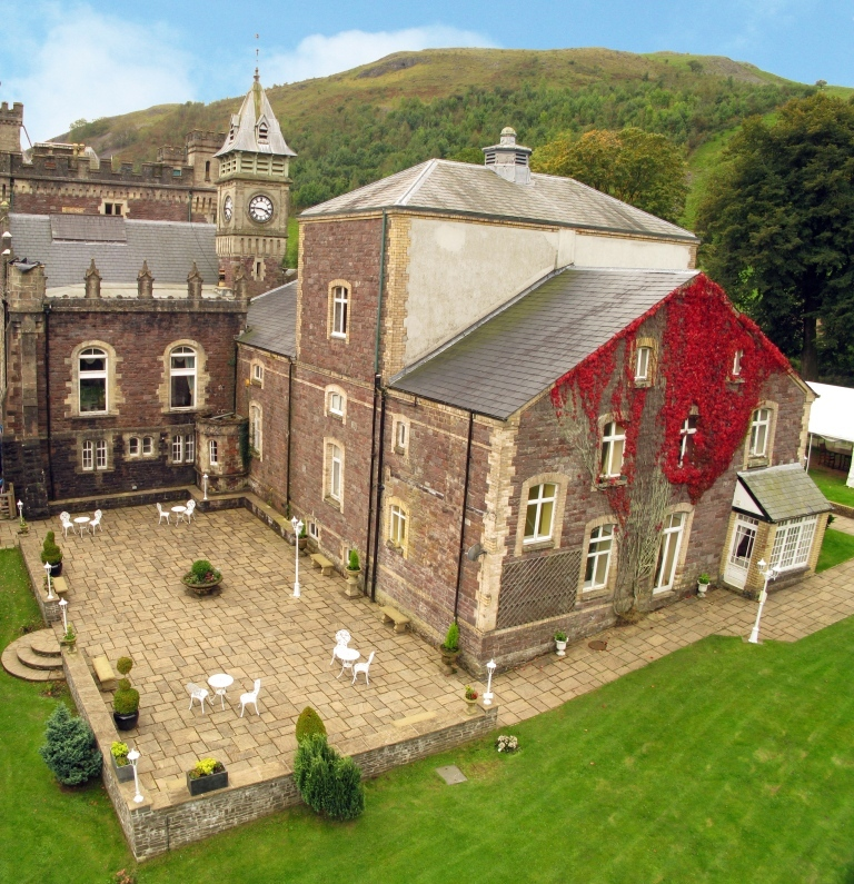 Dog Friendly Hotel Wales, Craig y Nos Castle Aerial Photograph of back of theatre and new theatre terrace