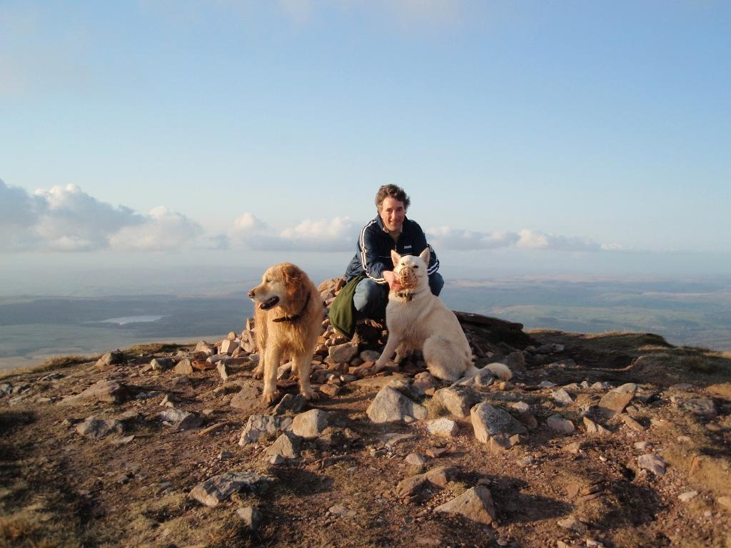 Lady of the Lake Mountain Dog Walk Jack an Sheeba and Martin Gover on top of mountain