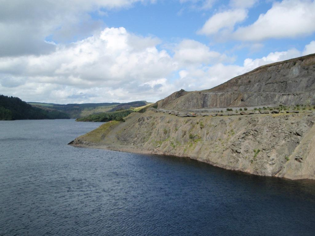 Llyn Brianne Reservoir view of old quarry