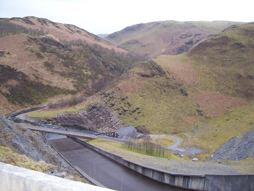 Llyn Brianne Reservoir spillover sluice drain and valley