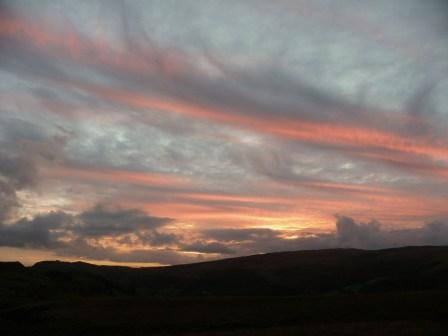 Dog friendly Wales - Mountain Tracks Penwyllt Dog Walk red sky at night