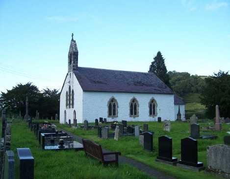 Dog Friendly B&B Wales - a dog's visit to Talley Abbey, view of church and graveyard at Talley Abbey