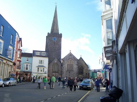 Dog Friendly B&B Wales - a dog's day out in Tenby, showing church spire