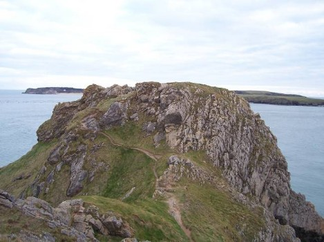 Dog Friendly B&B Wales - a dog's day out in Tenby, rocky outcrop to climb with lots of doggie paths