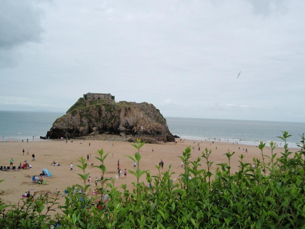 Tenby Bay Beach rock near the town - dog walking in winter only a this end