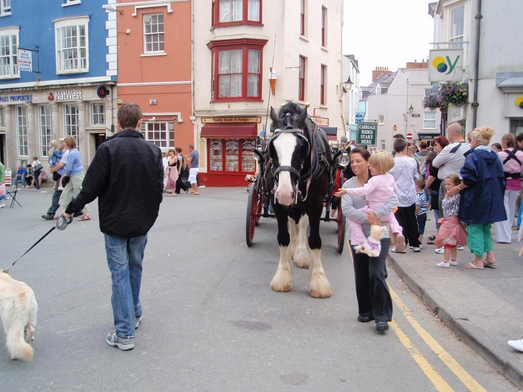 Tenby Town colourful streets shire horse and cart